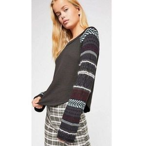 Free People Black Fairgrounds Thermal Top Size XS